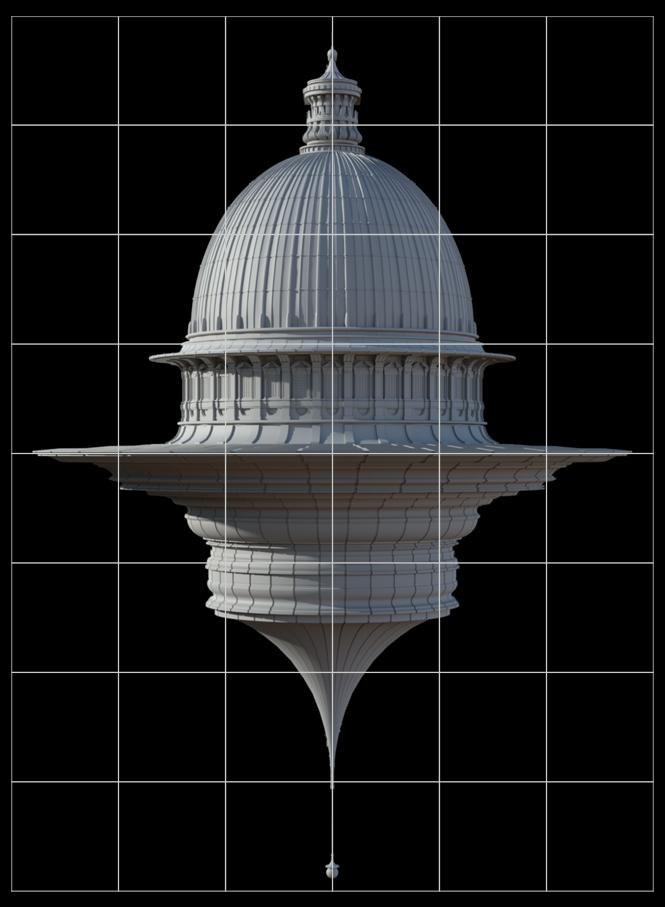 basilica volante modello digitale